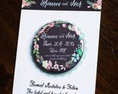 Floral Chalkboard, Save the Date Magnet, Wedding Invitation, Rustic Invite, Country Chic, Cute Fridge Magnet, Pink Flowers