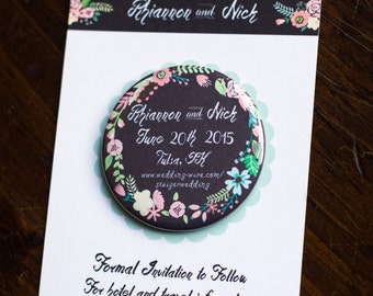 Floral Chalkboard Save The Date Magnet Wedding Invitation Rustic Invite Country Chic