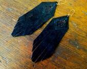 Black Suede Fringed Earrings