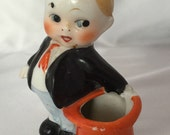 Vintage made in Japan ceramic kewpie boy pincushion toothpick holder
