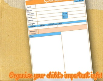 Planner Page / Form / Important Information Child / DIY/ Printable