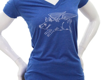 Flying Pig| Soft lightweight T Shirt| Women's slim fit| Art by Matley| Farm animal| Gift for her| When pigs fly.