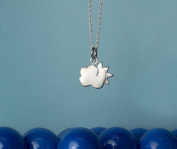 Tiny Cloud Charm Necklace with Sun peeking through sterling silver Kids  jewelry girls necklace charm necklace mom birthday gift