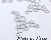 50% off - Made in Korea - 6pcs Matt Silver Plated Brass Circle Charm / Pendant (KP2606-S) - High Quality