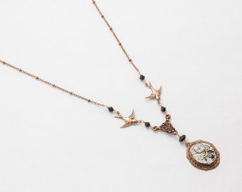 Steampunk Necklace Vintage silver watch movement with black crystal, bird charms Victorian motif copper Statement necklace jewelry Gift