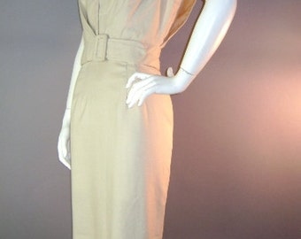 1950s vintage dress 50s BEIGE BUCKLE HOURGLASS sun dress with jacket xs dress set