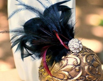 Hair Comb / Clip BLACK Ivory Champagne Feather & Rhinestone / Pearl. Marsala Plum Bride Bridal Couture Pin, Tan Ebony Noir, Classy Burlesque