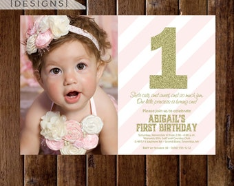 Gold Glitter First Birthday Photo Invitation, Light Pink Stripes, Gold First Birthday Invite, Pink and Gold Invitation, Gold Glitter