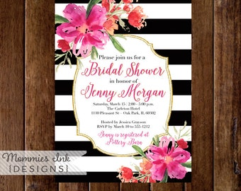 Bridal Shower Invitation, Floral Black and White Stripes Shower Invitation, Gold Glitter Bridal Shower, Watercolor Floral, Hot Pink Flowers