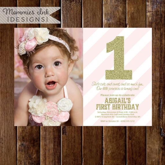 Gold Glitter First Birthday Photo Invitation Light Pink - 1st birthday invitations gold and pink