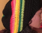 SALE Rasta Reggae Jamaican red pink yellow green slouch beanie tam hat