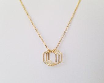 Triple Hexagon Necklace