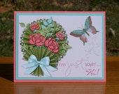 """Stampin' Up Digitally Designed Card - 4.25"""" x 5.5"""" - Just Sayin' Hi - Sweet Hello - Bouquet & Butterfly - No Dimension or Embellishments"""