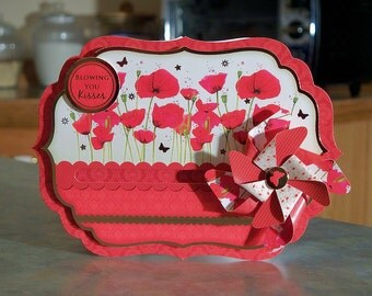 """Spinning Pinwheel Card - Blowing You Kisses Poppies - 4.75"""" x 6.75"""""""
