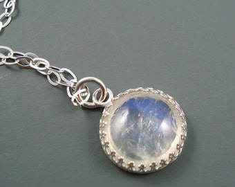 Moonstone Necklace with Rainbow Moonstone 14MM Cab and Sterling Silver Chain