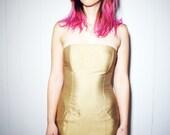 1990s VTG Michael KORS Hollywood Strapless Club Glam Muted Gold Tube Dress Raw Silk