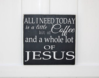 Coffee and Jesus Hand-Painted Wood Sign // Typography // Coffee Signs // Faith Signs // Jesus Wall Art // Faith Signs // Kitchen Coffee Sign