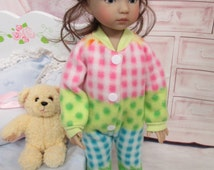 """Pastel Stripes Polar Fleece Footie Pajamas for 13""""-14"""" Effner Little Darlings and Betsy McCall"""