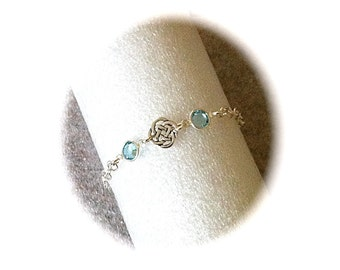Silver Celtic Knot Bracelet, Swarovski Aquamarine Birthstone Jewelry, Sister Friendship Bracelet, Irish Jewelry, Silver Birthstone Bracelet