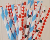 Paper Straws, Queen Of Hearts Paper Straws, Alice In Wonderland Party, Casino Party Straws, Drink Me Paper Straw, Mad Hatter Tea Party Straw
