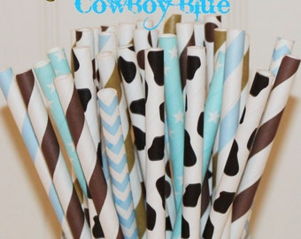 Paper Straws, 25 Cowboy Blue Paper Straw Mix, Cute Kids Cowboy Party Paper Straws, Blue Paper Straws, Brown Paper Straws, Cow Print Straws