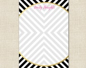 Lovely Thoughts Notepad in Maze Pattern - Black Color with Gold Effect Accents - By A Blissful Nest