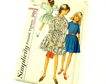 Vintage 1960s Child Size 7 Pleated One Piece Dress Simplicity Sewing Pattern 6110 Complete / bust 25 waist 22.5