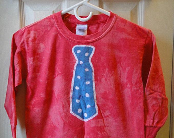 Kids Tie Shirt, Batik Tie Shirt, Childrens Tie Shirt, Boys Tie Shirt, Kids Necktie Shirt, Red Tie Shirt, Funny Kids Shirt (Youth S)