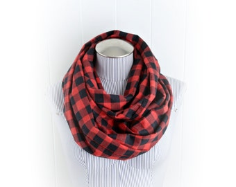 Classic Plaid Infinity Scarf, Flannel Buffalo Check Red and Black Lumberjack Scarf