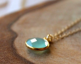 Aqua Blue Chalcedony Bezel Set Pendant Necklace - 14K Goldfilled