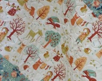 Modern Baby Girl Quilt-Rustic Baby Bedding-Organic Birch Fabric-Woodland Acorn Trail-Bird Baby Blanket