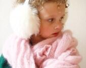White earmuffs, winter accessory, kids, gift, christmas, ear warmer, winter hat