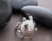 Estate Sterling Ring - Sterling Silver Turtle Ring Size 8