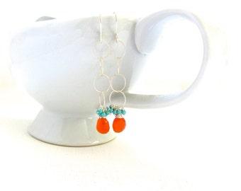 Carnelian Turquoise Silver Earrings, Sterling Silver Hoop Earrings, Long Dangling Earrings, Orange Carnelian, Handmade Jewelry