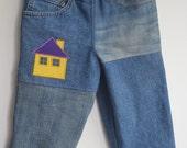 Denim Pants with Applique House