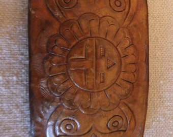 Vintage Belt Buckle Hand Tooled Leather Western Southwestern Hippie Accessories Clothing 70s