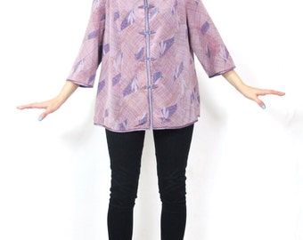 Vintage 70s Chinese Blouse Purple Floral Abstract Print Cheongsam Shirt Asian Mandarin Collar Loose Long Sleeve Top (L)