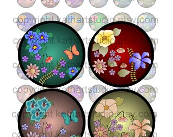 Instant Download - Floral Digital Collage Sheet - 7/8 inch circles for bottlecap pendant stickers tiles magnets, bows 44A