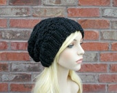 Heather Black Crochet Hat, Black Beanie, Slouchy Beanie Oversized Beanie Hat for Teen Womens Beanie Black Hat Extra Long Beanie Knit Hat