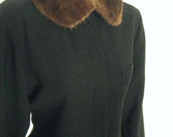vintage 1940s chocolate MINK FUR Shirt COLLAR