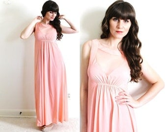 Vintage Nightgown / 1960s Nightgown / Coral Pink Illusion Nightgown