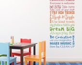 Play Room Rules Wall Decal - Multiple Color Version - Vertical Medium