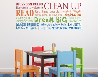 Play Room Rules Wall Decal - Multiple Color Version - Horizontal Medium