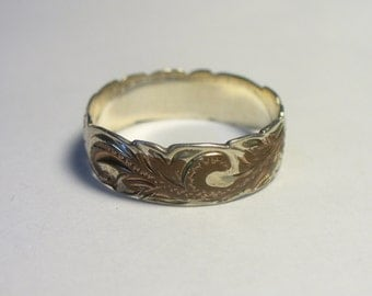 Vintage engraved band sterling silver & copper ring - Size 8-1/4- 2.1 grams
