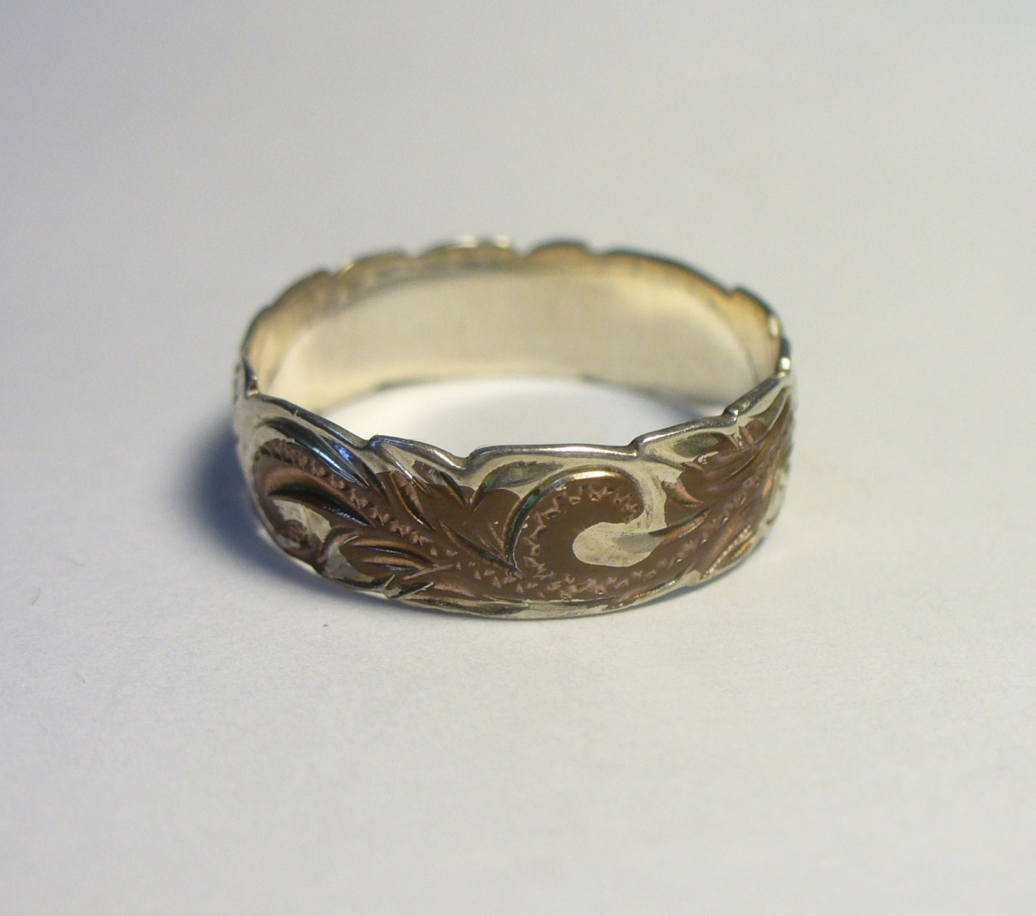 vintage engraved band sterling silver copper ring size