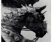 Raven artwork , Raven, crow, etching on paper, 5 inch x 7 inch 2012