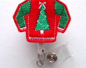 Ugly Christmas Sweater Red - Retractable ID Felt Badge Holder - Christmas Badge Reel - Nurses Badge Holder - Medical Badge - Teacher Badge