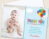 Balloons Party Photo Thank You Cards - Professionally printed *or* DIY printable
