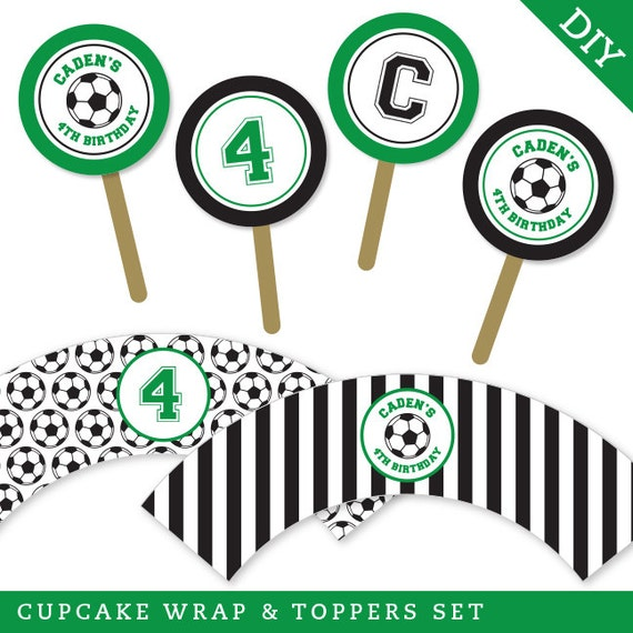 Soccer Party - Personalized DIY printable cupcake wrapper and topper set - Choose green, red, blue or pink