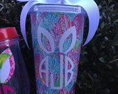 Monogram with Easter Bunny Ears - Lilly Pulitzer Acrylic Tumbler with Waterproof Fabric Insert - 16 oz Size